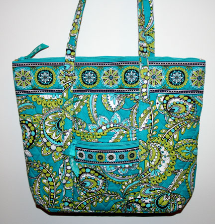 A photo from my new cousin-in-law of the bag she bought in 2007 during a sale at Fort Wayne's Coliseum.  It is a VERA BRADLEY BAG!